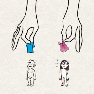 des mains tendent un habit bleu à un garçon, un habit rose à une fille