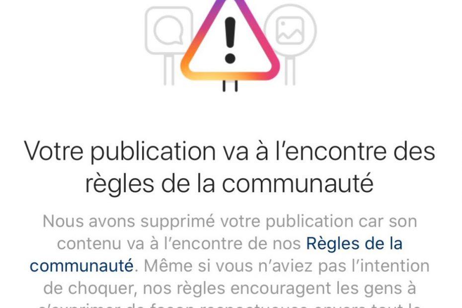 message d'erreur d'Instagram pour une publication censurée